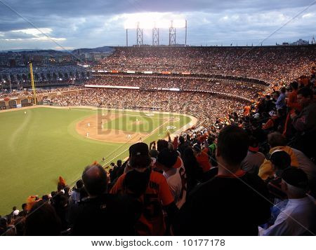 Giants Fans Cheer In Anticipation Of Upcoming Pitch From Matt Cain