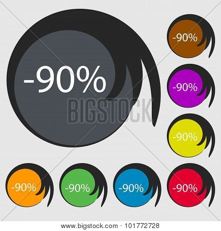90 Percent Discount Sign Icon. Sale Symbol. Special Offer Label. Symbols On Eight Colored Buttons. V