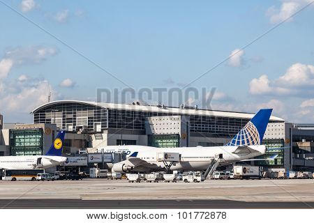 United Airlines Boeing 747 At Frankfurt Airport