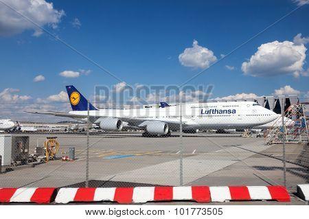 Lufthansa Boeing 747 At The Frankfurt Airport