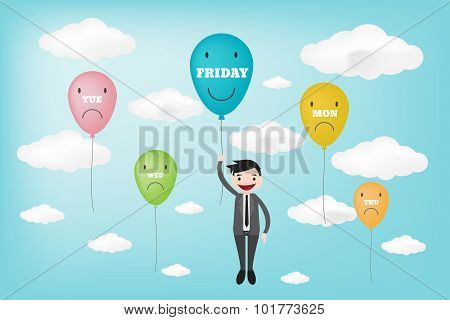 Tgif Happy Friday Displayed In Ballon Concept (vector Style Eps10)..tgif Happy Together Displayed In