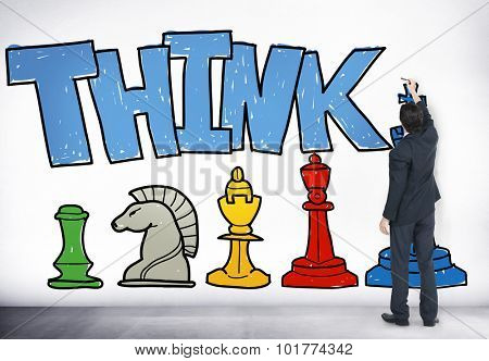 Business Man Drawing Think Chess Pieces Concept
