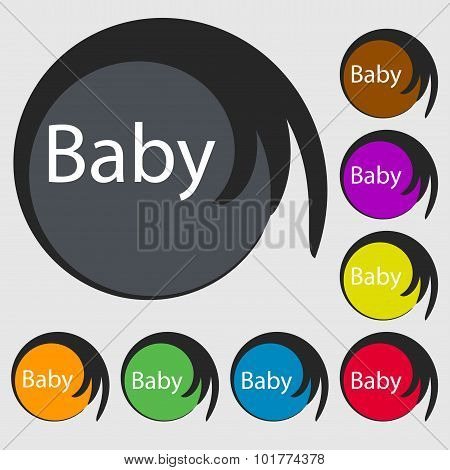 Baby On Board Sign Icon. Infant In Car Caution Symbol. Baby-pacifier Nipple. Symbols On Eight Colore