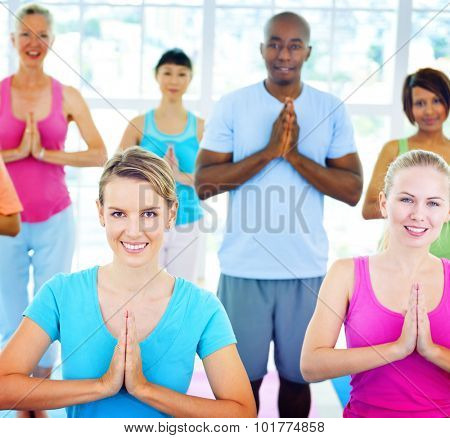 Group Of Happy Diversity People Yoga Concept