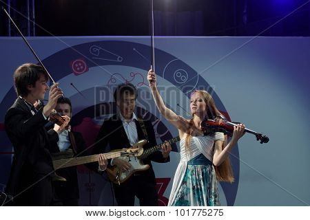 ST. PETERSBURG, RUSSIA - SEPTEMBER 14, 2015: Musicians play at the start of project