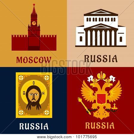 Cultural, historic and religion russial flat icons