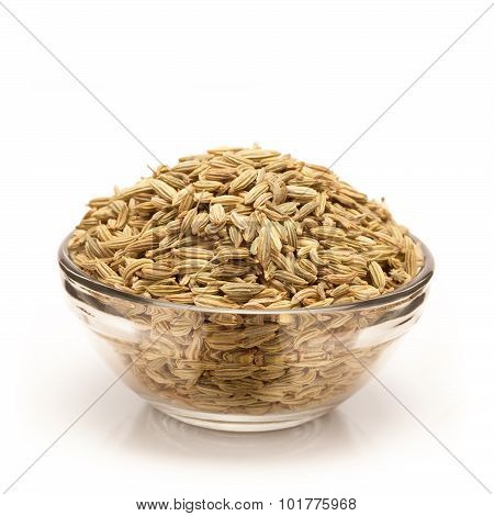Organic Fennel seed in bowl front view.