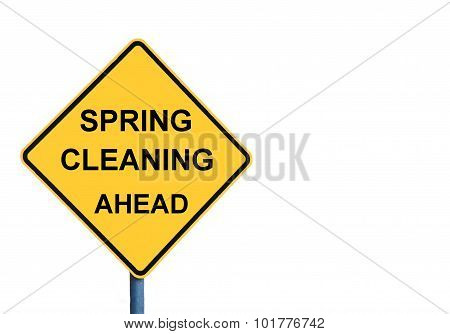 Yellow Roadsign With Spring Cleaning Ahead Message
