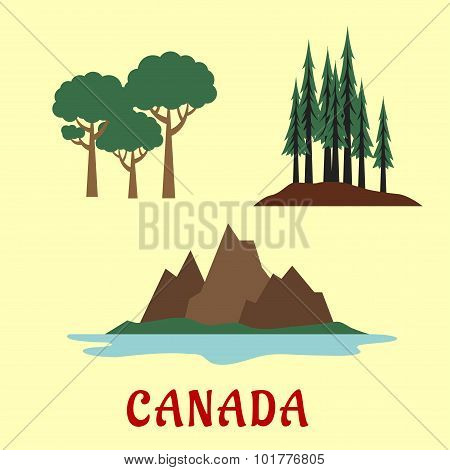 Canadian nature and landscape flat icons