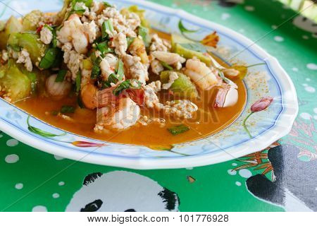 Spicy Salad Mixing Of Grilled Eggplant, Minced Pork