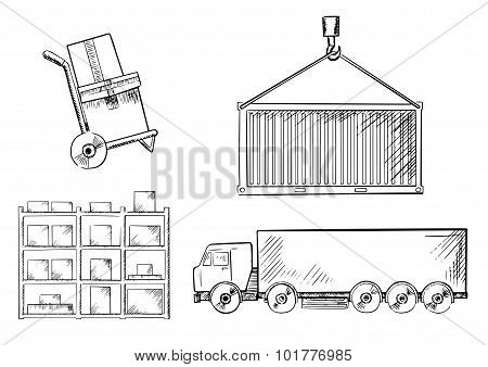 Truck, container, hand truck and racks