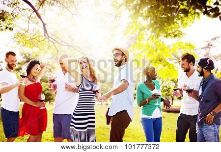 Teenagers Friends Dancing Hangout Happiness Concept blurred