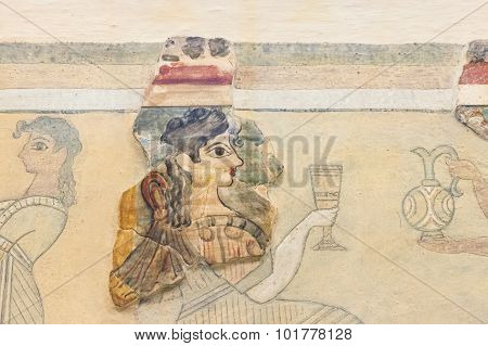 Fresco In  Heraklion Archaeological Museum At Crete, Greece