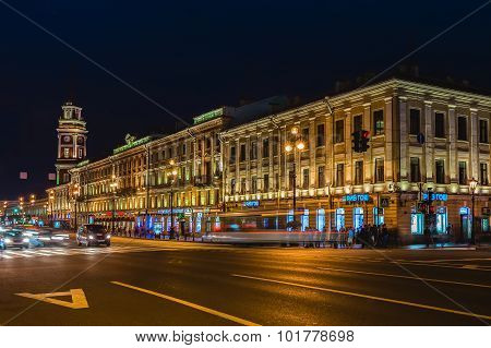 Nevsky Prospect And Saint Petersburg City Duma At Night Illumination