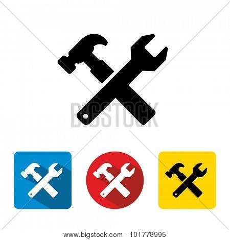 Crossed Wrench and hammer Tools vector icon