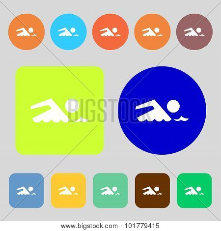 Swimming Sign Icon. Pool Swim Symbol. Sea Wave. 12 Colored Buttons. Flat Design. Vector