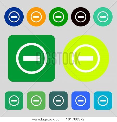 Minus Sign Icon. Negative Symbol. Zoom Out. 12 Colored Buttons. Flat Design. Vector