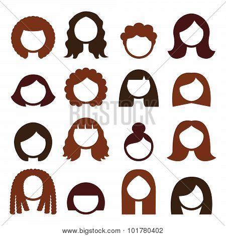 Brunette hair styles, wigs icons set - women