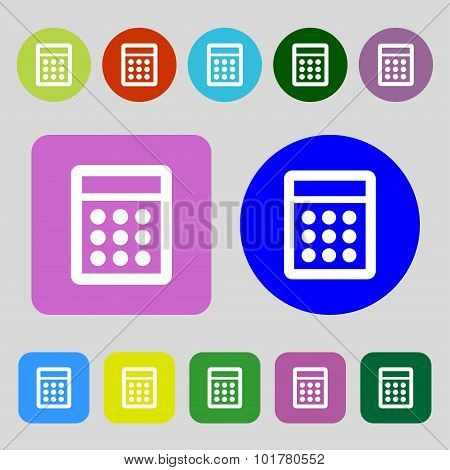 Calculator Sign Icon. Bookkeeping Symbol. 12 Colored Buttons. Flat Design. Vector