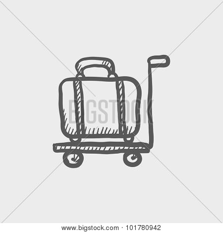 Luggage on a trolley sketch icon for web, mobile and infographics. Hand drawn vector dark grey icon isolated on light grey background.