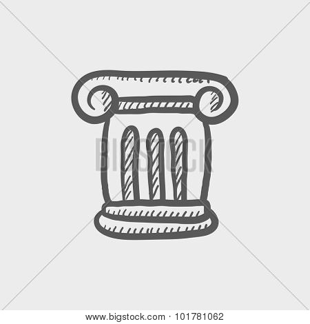Ancient column sketch icon for web, mobile and infographics. Hand drawn vector dark grey icon isolated on light grey background.