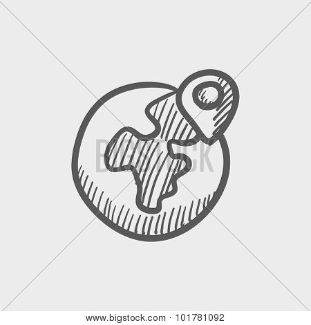 Globe with pointer sketch icon for web, mobile and infographics. Hand drawn vector dark grey icon isolated on light grey background.