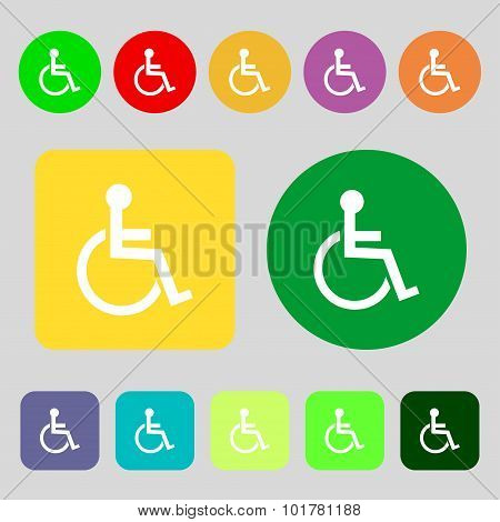 Disabled Sign Icon. Human On Wheelchair Symbol. Handicapped Invalid Sign. 12 Colored Buttons. Flat D