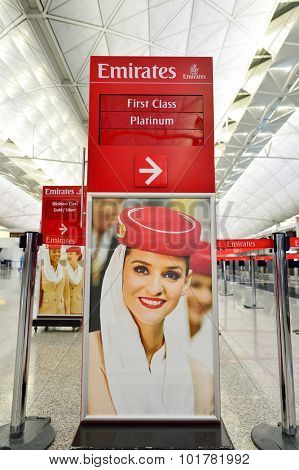 HONG KONG - SEPTEMBER 09, 2015: Emirates check-in counter design. Emirates is the largest airline in the Middle East. It is an airline based in Dubai, United Arab Emirates