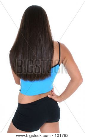 Back View Of A Teen Girl In Workout Clothes Over White