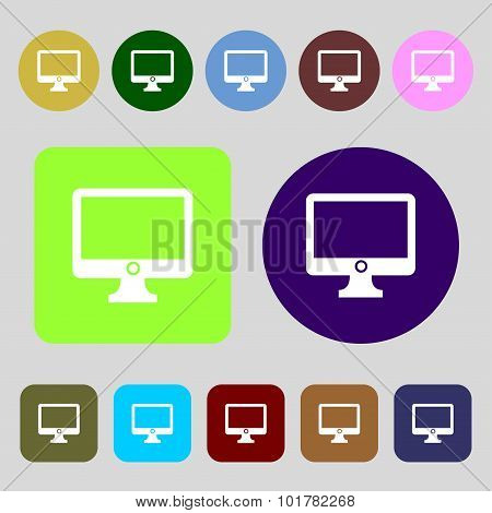 Computer Widescreen Monitor Sign Icon. 12 Colored Buttons. Flat Design. Vector