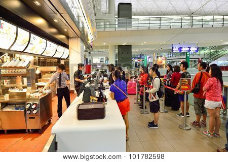 HONG KONG - JUNE 04, 2015: McDonald's restaurant interior. McDonald's is the world's largest chain of hamburger fast food restaurants, founded in the United States.