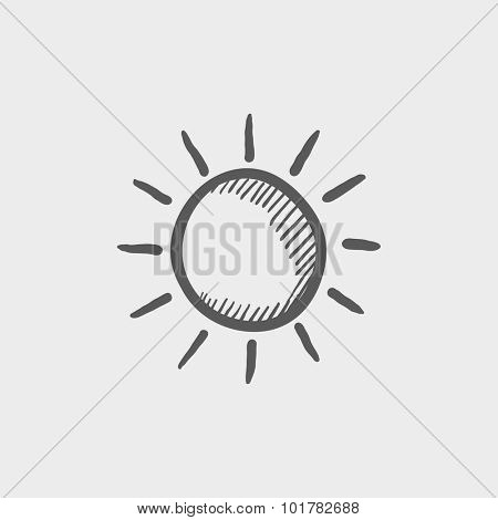 Sun sketch icon for web, mobile and infographics. Hand drawn vector dark grey icon isolated on light grey background.