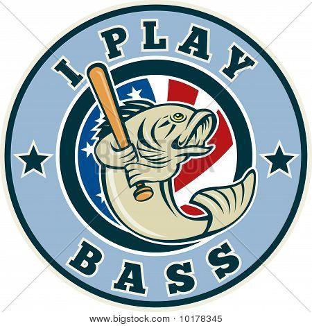 Largemouth bass playing baseball