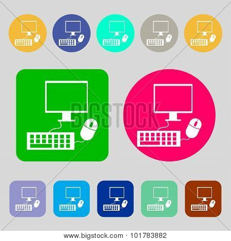 Computer Widescreen Monitor, Keyboard, Mouse Sign Icon. 12 Colored Buttons. Flat Design. Vector