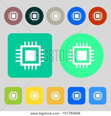 Central Processing Unit Icon. Technology Scheme Circle Symbol. 12 Colored Buttons. Flat Design. Vect