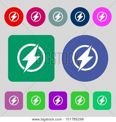 Photo Flash Sign Icon. Lightning Symbol. 12 Colored Buttons. Flat Design. Vector
