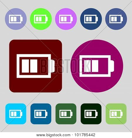 Battery Half Level Sign Icon. Low Electricity Symbol. 12 Colored Buttons. Flat Design. Vector