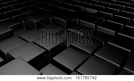 3d glossy black plastic cubes field background