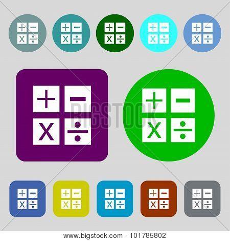 Multiplication, Division, Plus, Minus Icon Math Symbol Mathematics. 12 Colored Buttons. Flat Design.