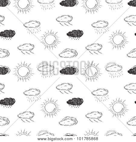 Weather symbols seamless pattern. Sketch vector illustration.