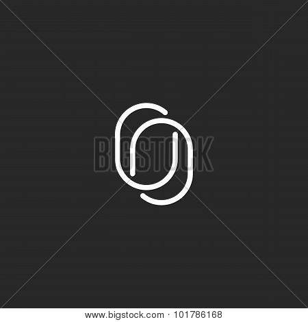 Monogram Two O Letter Logo, Thin Lines Intersect, Hipster Wedding Invitation Black And White Emblem