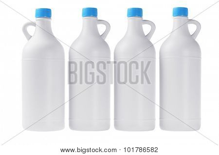 Plastic Detergent Bottles in a Row on White Background