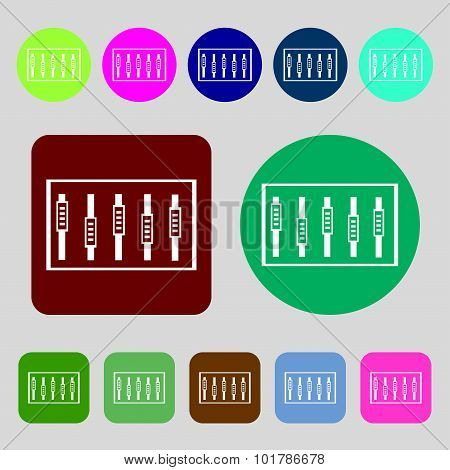 Dj Console Mix Handles And Buttons, Level Icons. 12 Colored Buttons. Flat Design. Vector
