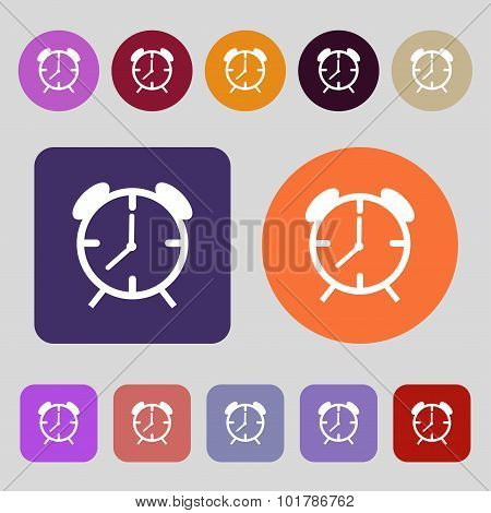 Alarm Clock Sign Icon. Wake Up Alarm Symbol. 12 Colored Buttons. Flat Design. Vector