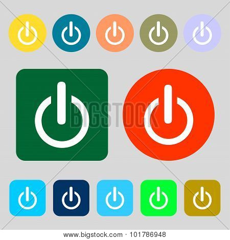 Power Sign Icon. Switch Symbol. 12 Colored Buttons. Flat Design. Vector