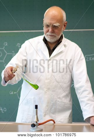 Professor Heated Chemicals In A Laboratory