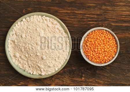 Red Lentils And Lentil Flour