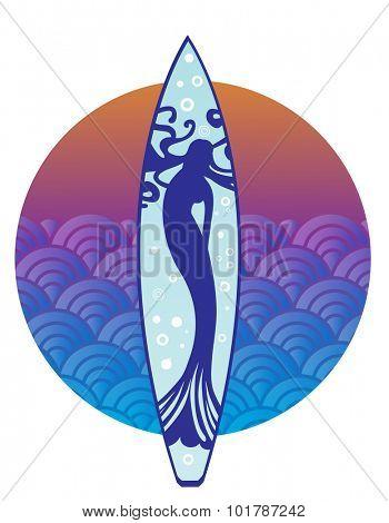 Mermaid on surfboard (release clip mask for full mermaid)
