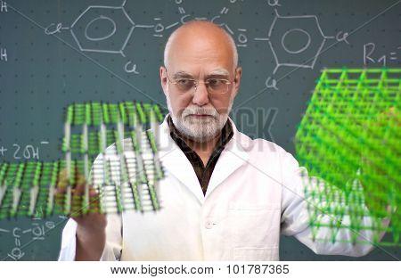 Professor With Molecular Model In Lab