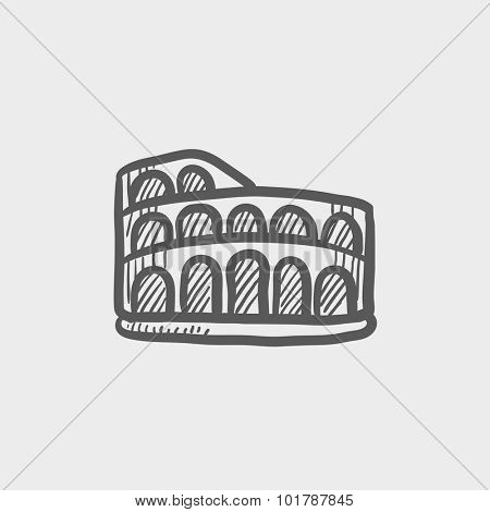 Coliseum sketch icon for web, mobile and infographics. Hand drawn vector dark grey icon isolated on light grey background.